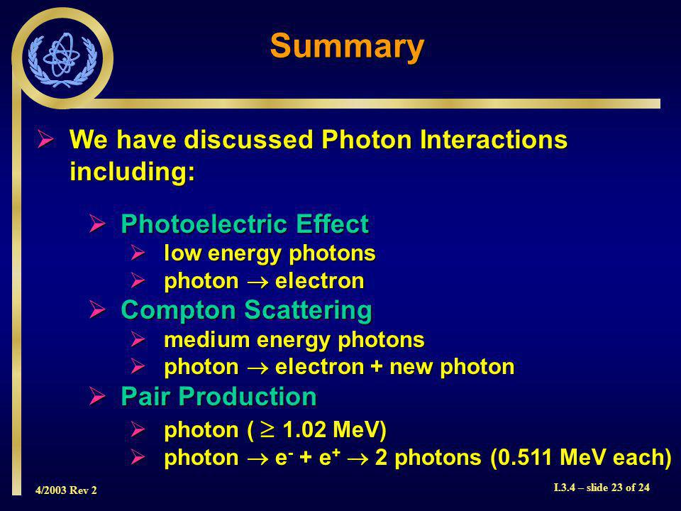 4/2003 Rev 2 I.3.4 – slide 23 of 24 Summary We have discussed Photon Interactions including: We have discussed Photon Interactions including: Photoelectric Effect Photoelectric Effect low energy photons low energy photons photon electron photon electron Compton Scattering Compton Scattering medium energy photons medium energy photons photon electron + new photon photon electron + new photon Pair Production Pair Production photon ( 1.02 MeV) photon ( 1.02 MeV) photon e - + e + 2 photons (0.511 MeV each) photon e - + e + 2 photons (0.511 MeV each)