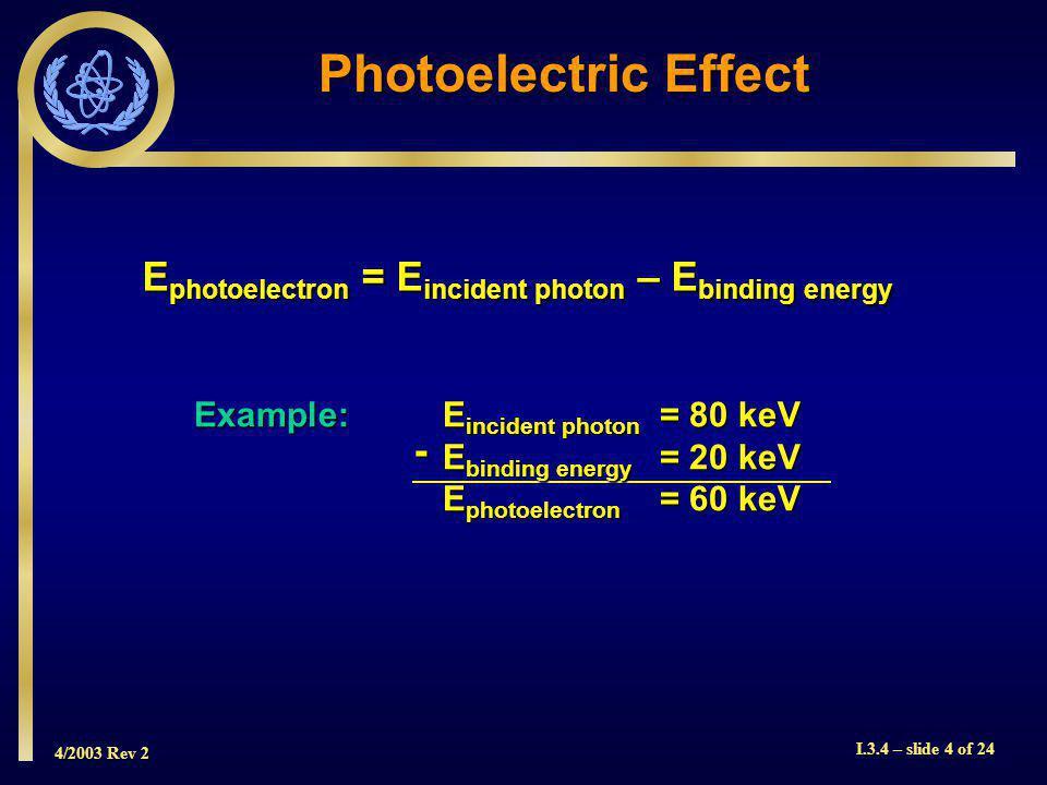 4/2003 Rev 2 I.3.4 – slide 4 of 24 Photoelectric Effect - Example:E incident photon = 80 keV E binding energy = 20 keV E photoelectron = 60 keV E photoelectron = E incident photon – E binding energy