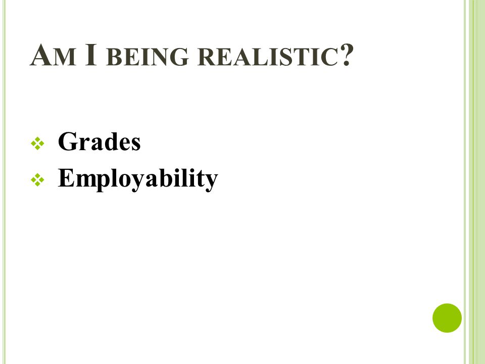A M I BEING REALISTIC Grades Employability