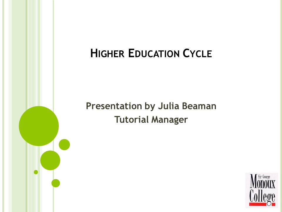 H IGHER E DUCATION C YCLE Presentation by Julia Beaman Tutorial Manager