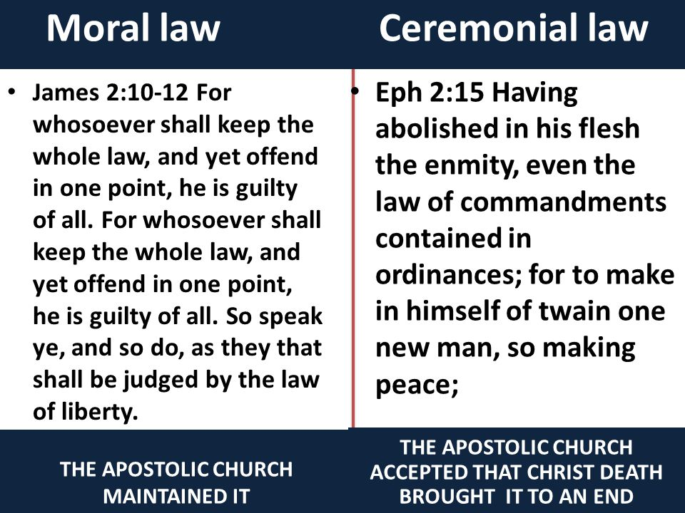 Moral law Ceremonial Law THE APOSTOLIC CHURCH MAINTAINED IT Rom 7:7 What shall we say then? Is the law sin? God forbid. Nay, I had not known sin, but