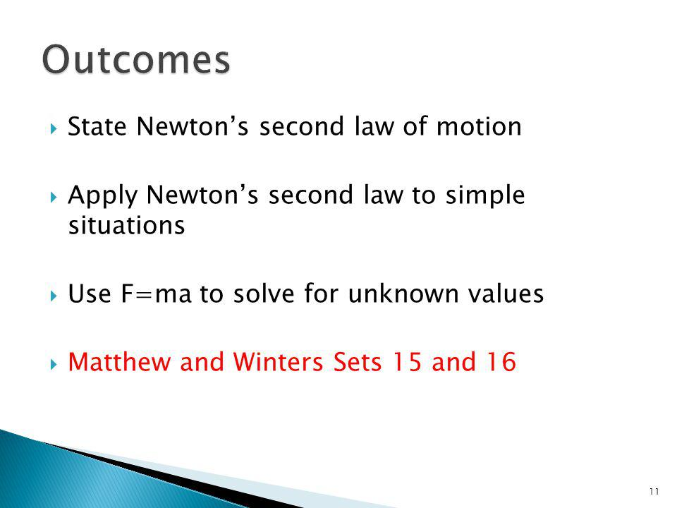 State Newtons second law of motion Apply Newtons second law to simple situations Use F=ma to solve for unknown values Matthew and Winters Sets 15 and