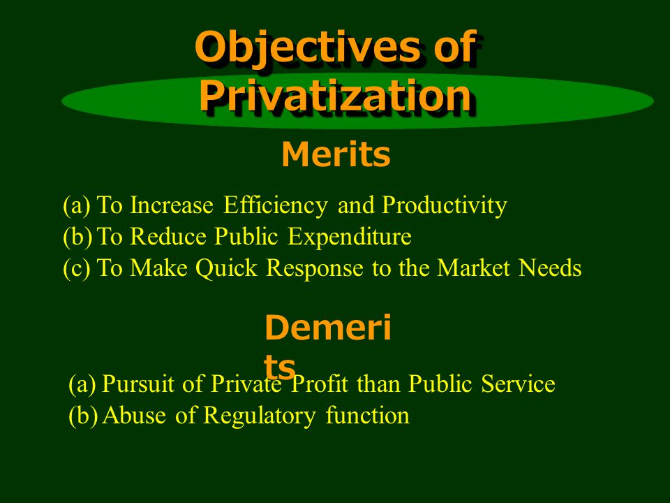 Objectives of Privatization (a)To Increase Efficiency and Productivity (b)To Reduce Public Expenditure (c)To Make Quick Response to the Market Needs (a)Pursuit of Private Profit than Public Service (b)Abuse of Regulatory function Merits Demeri ts