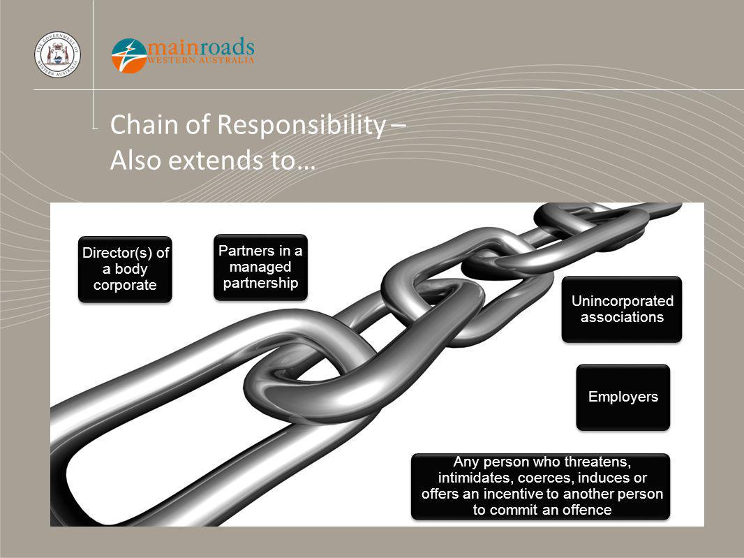 Chain of Responsibility – Also extends to… Unincorporated associations Partners in a managed partnership Director(s) of a body corporate Employers Any person who threatens, intimidates, coerces, induces or offers an incentive to another person to commit an offence