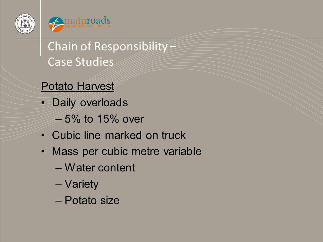 Chain of Responsibility – Case Studies Potato Harvest Daily overloads –5% to 15% over Cubic line marked on truck Mass per cubic metre variable –Water content –Variety –Potato size