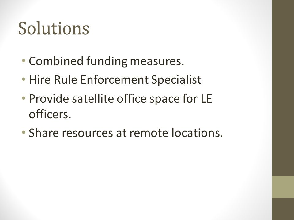 Solutions Combined funding measures.