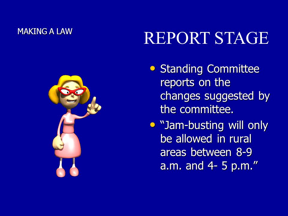 MAKING A LAW Standing Committee reports on the changes suggested by the committee. Standing Committee reports on the changes suggested by the committe