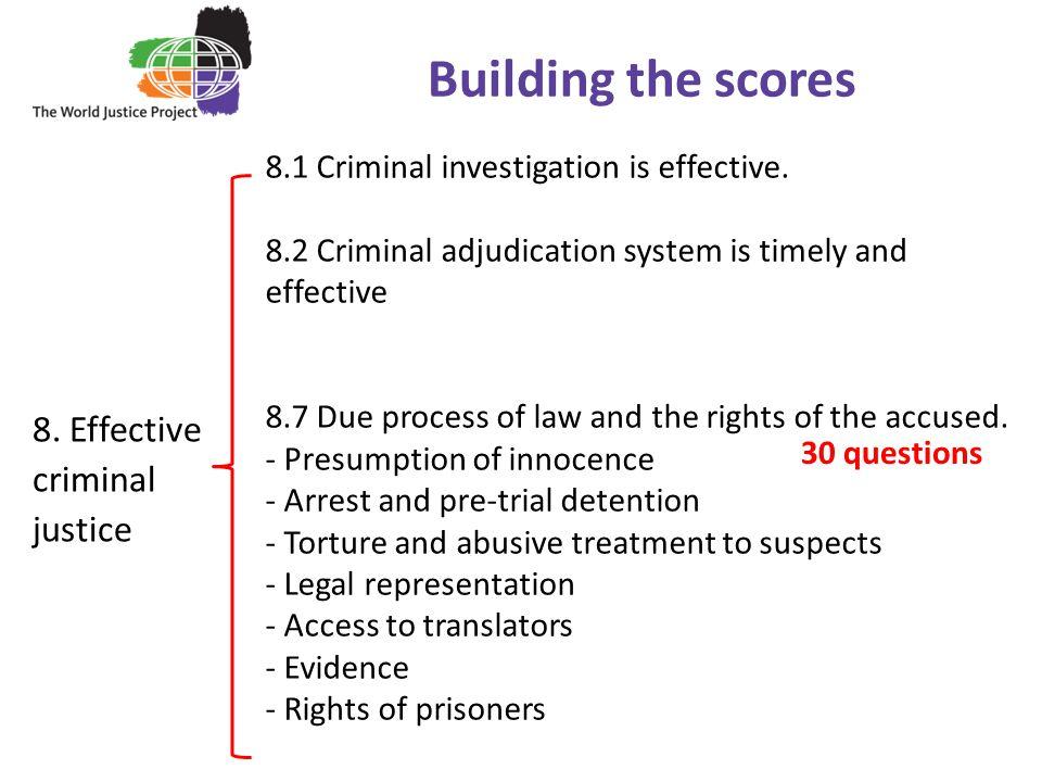 8.Effective criminal justice Building the scores 8.1 Criminal investigation is effective.