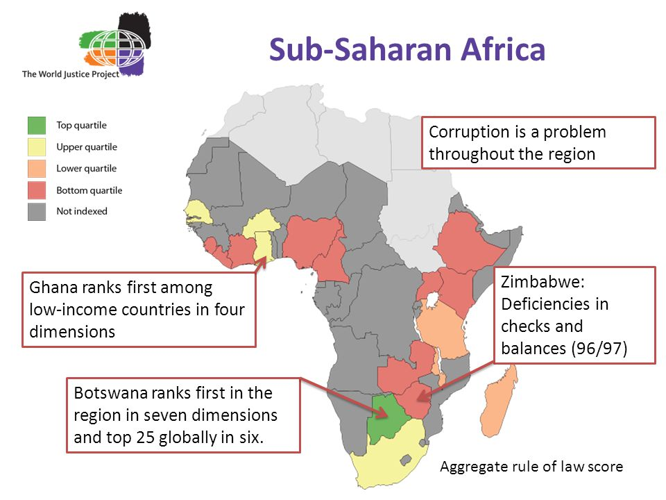 Sub-Saharan Africa Ghana ranks first among low-income countries in four dimensions Zimbabwe: Deficiencies in checks and balances (96/97) Botswana ranks first in the region in seven dimensions and top 25 globally in six.