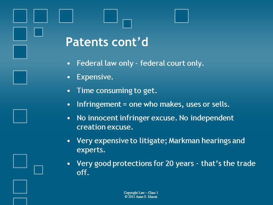 Patents contd Federal law only - federal court only.