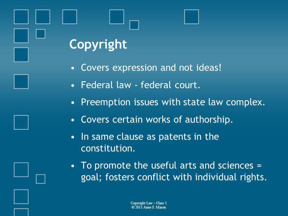 Copyright Covers expression and not ideas. Federal law - federal court.