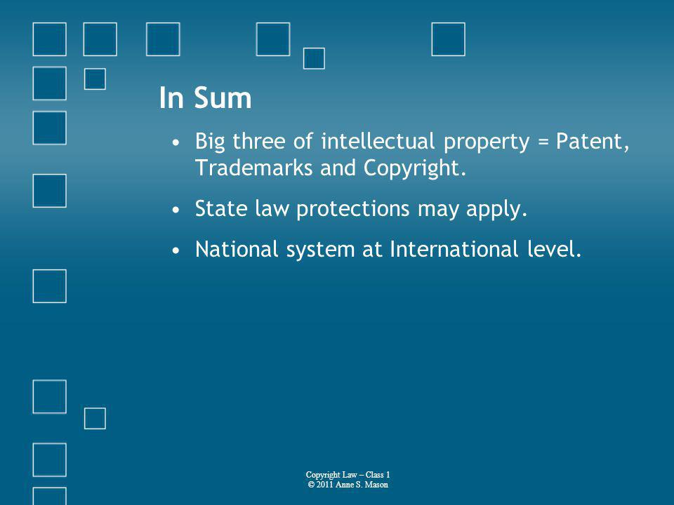 In Sum Big three of intellectual property = Patent, Trademarks and Copyright.