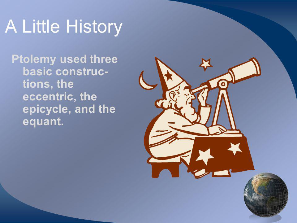 A Little History Ptolemy used three basic construc- tions, the eccentric, the epicycle, and the equant.