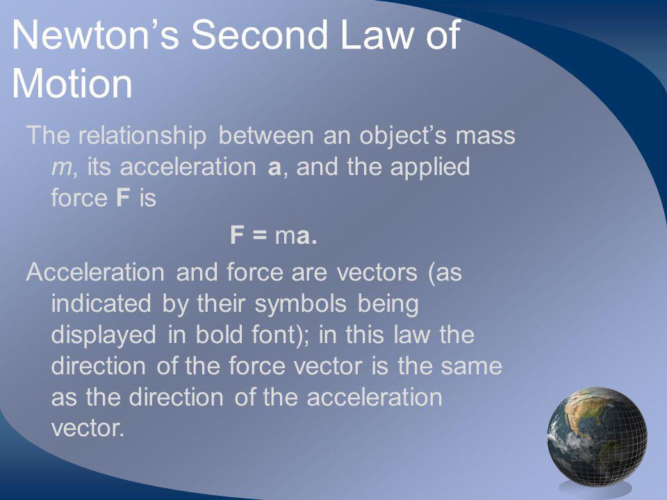 Newtons Second Law of Motion The relationship between an objects mass m, its acceleration a, and the applied force F is F = ma.