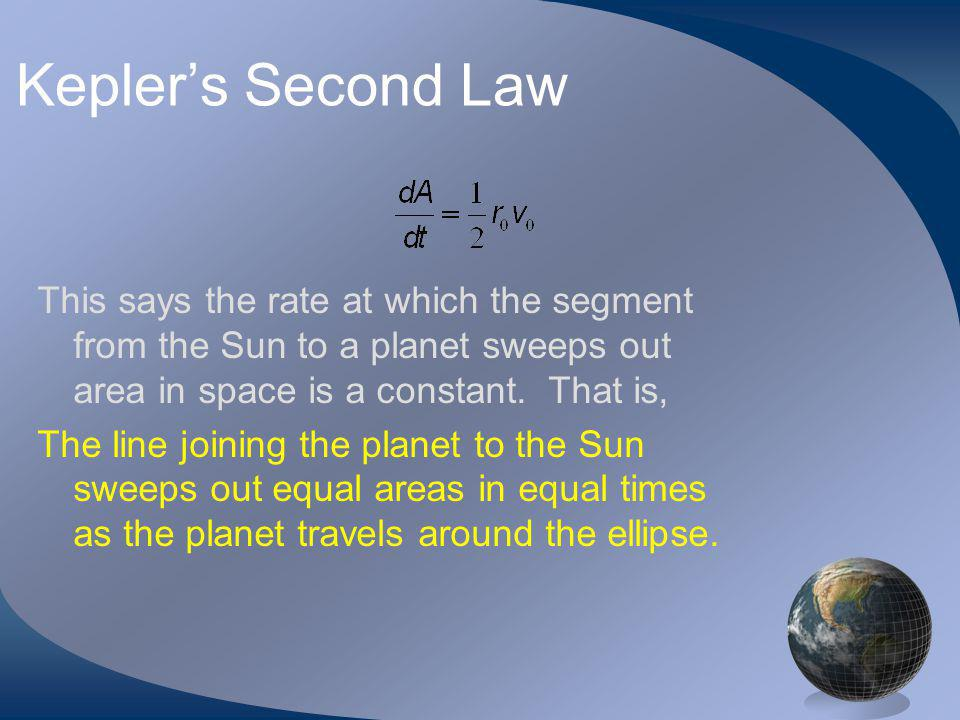 Keplers Second Law This says the rate at which the segment from the Sun to a planet sweeps out area in space is a constant.