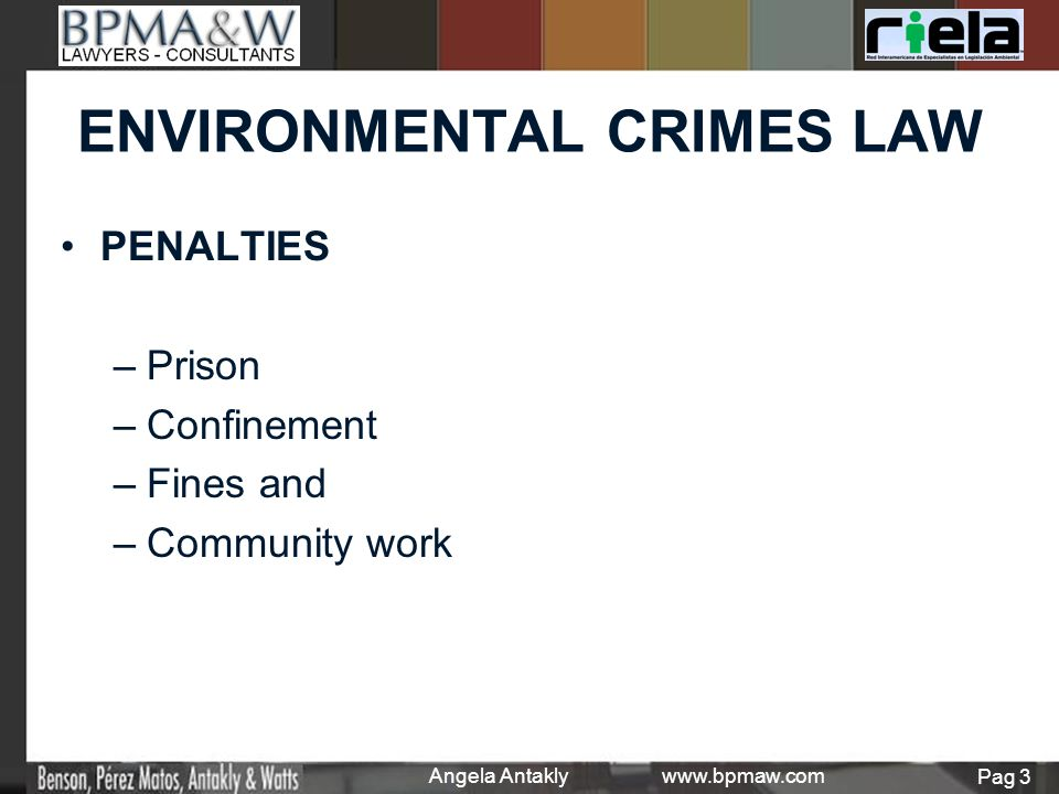 PENALTIES – –Prison – –Confinement – –Fines and – –Community work Angela Antakly www.bpmaw.com Pag 3