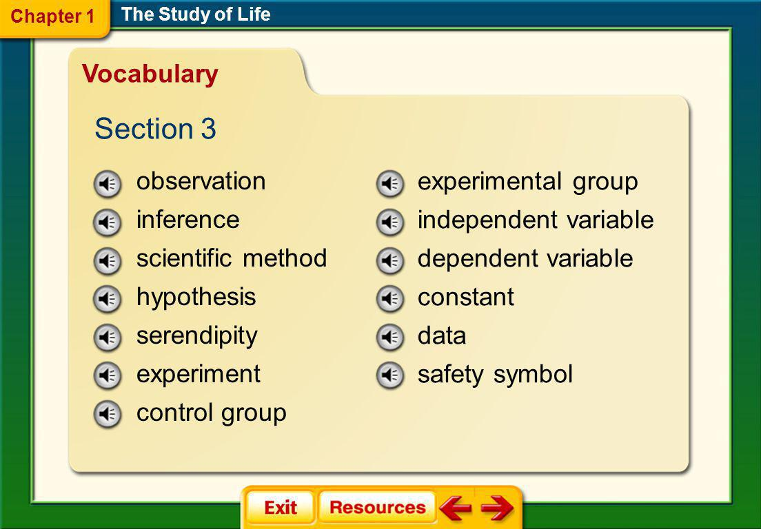 The Study of Life science theory peer review metric system SI forensics ethics Vocabulary Section 2 Chapter 1