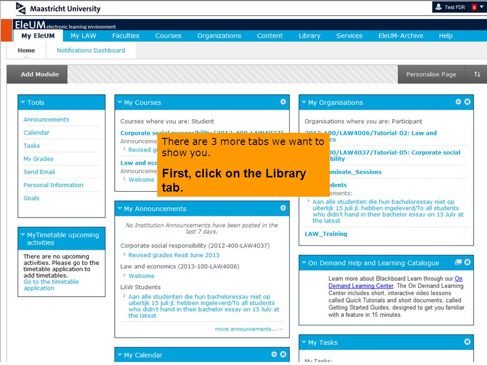There are 3 more tabs we want to show you. First, click on the Library tab.