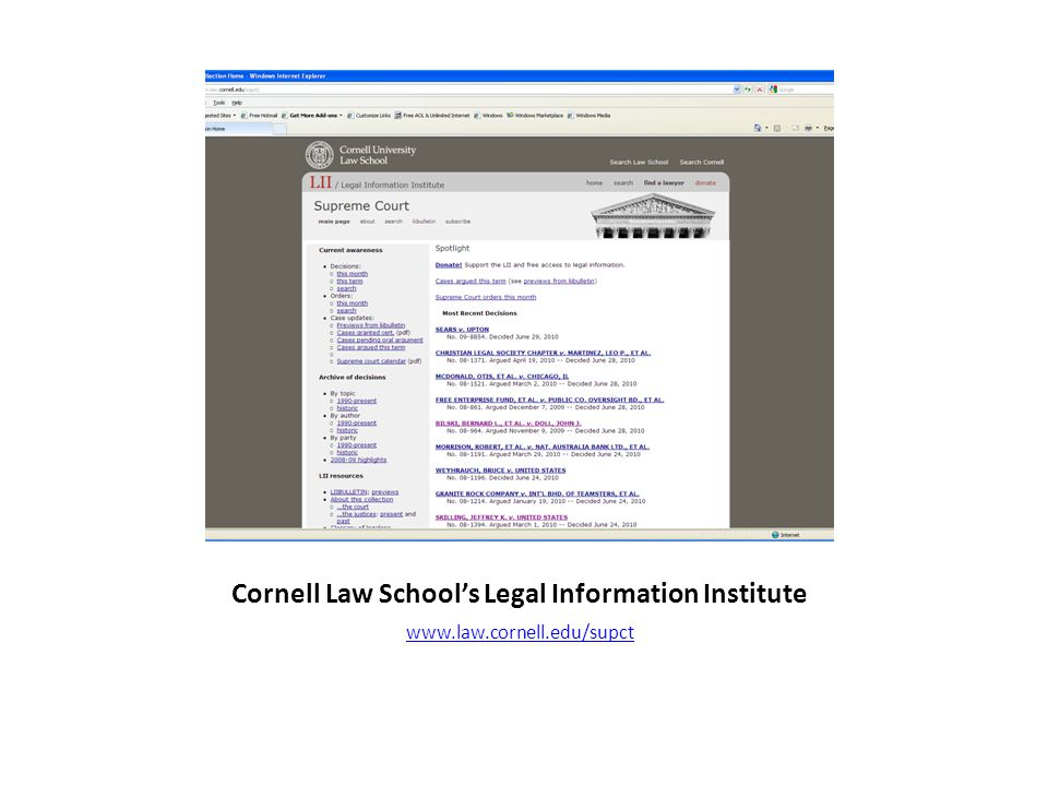 Cornell Law Schools Legal Information Institute www.law.cornell.edu/supct