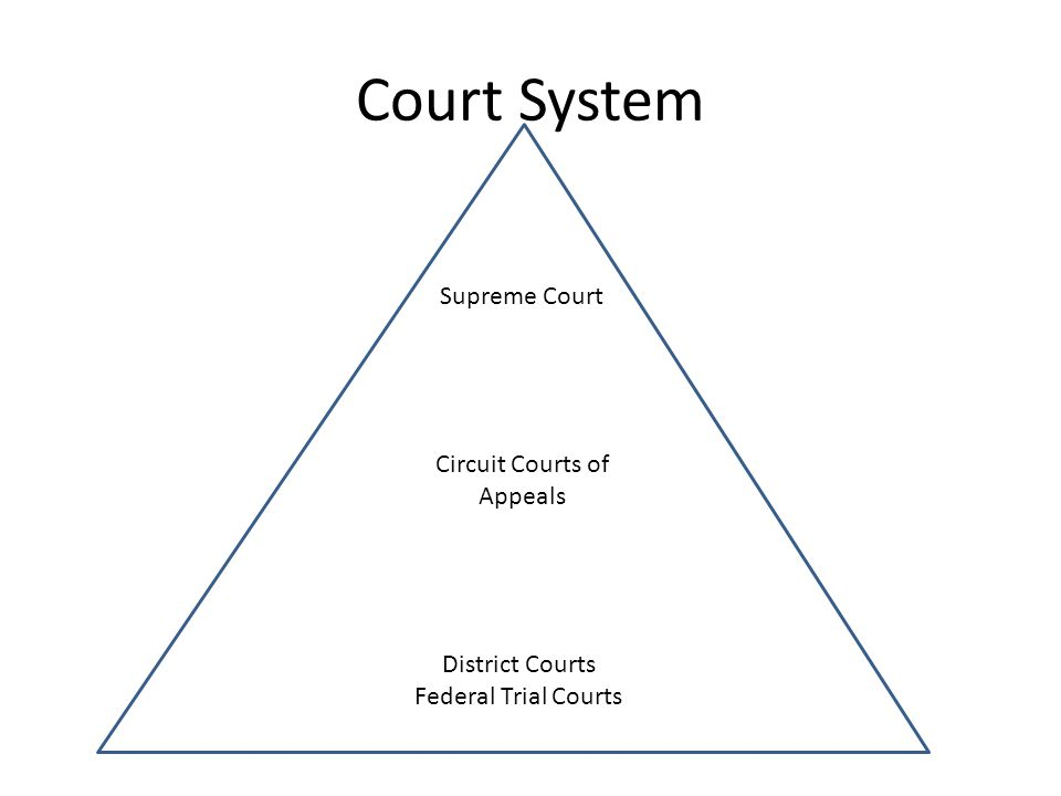 Court System Supreme Court Circuit Courts of Appeals District Courts Federal Trial Courts