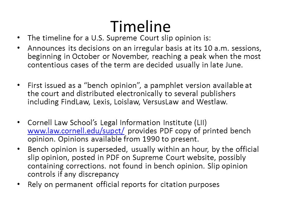 Timeline The timeline for a U.S.