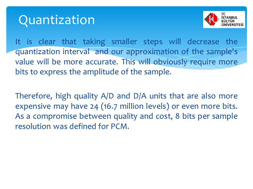 It is clear that taking smaller steps will decrease the quantization interval and our approximation of the samples value will be more accurate. This w