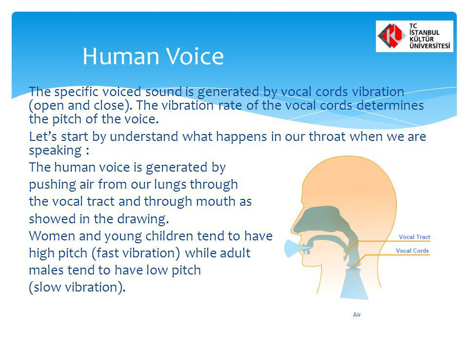 The specific voiced sound is generated by vocal cords vibration (open and close). The vibration rate of the vocal cords determines the pitch of the vo