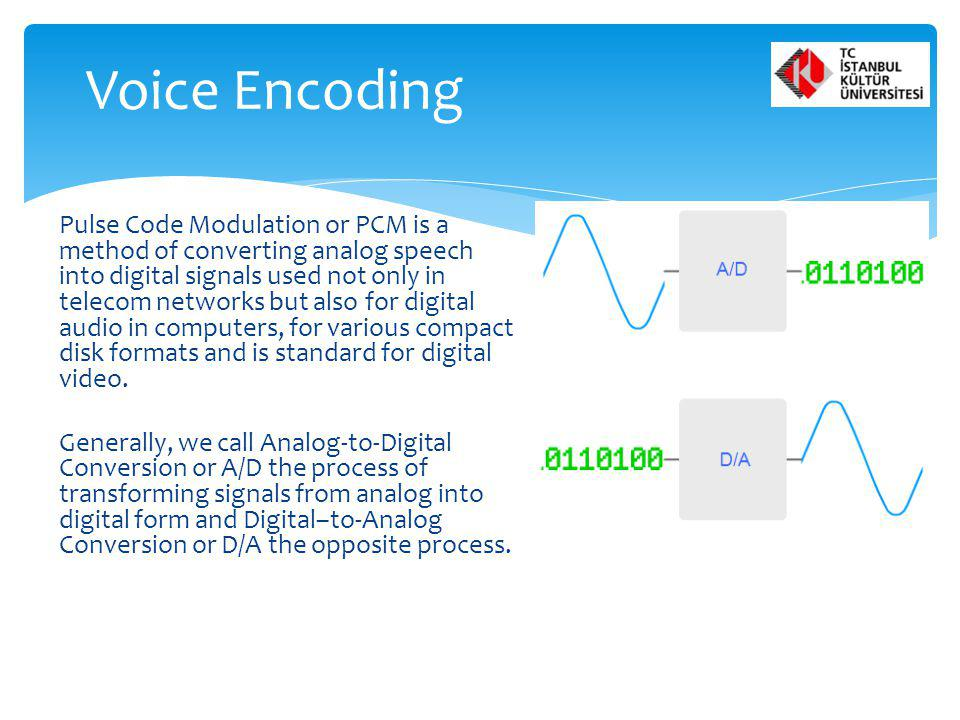 Pulse Code Modulation or PCM is a method of converting analog speech into digital signals used not only in telecom networks but also for digital audio