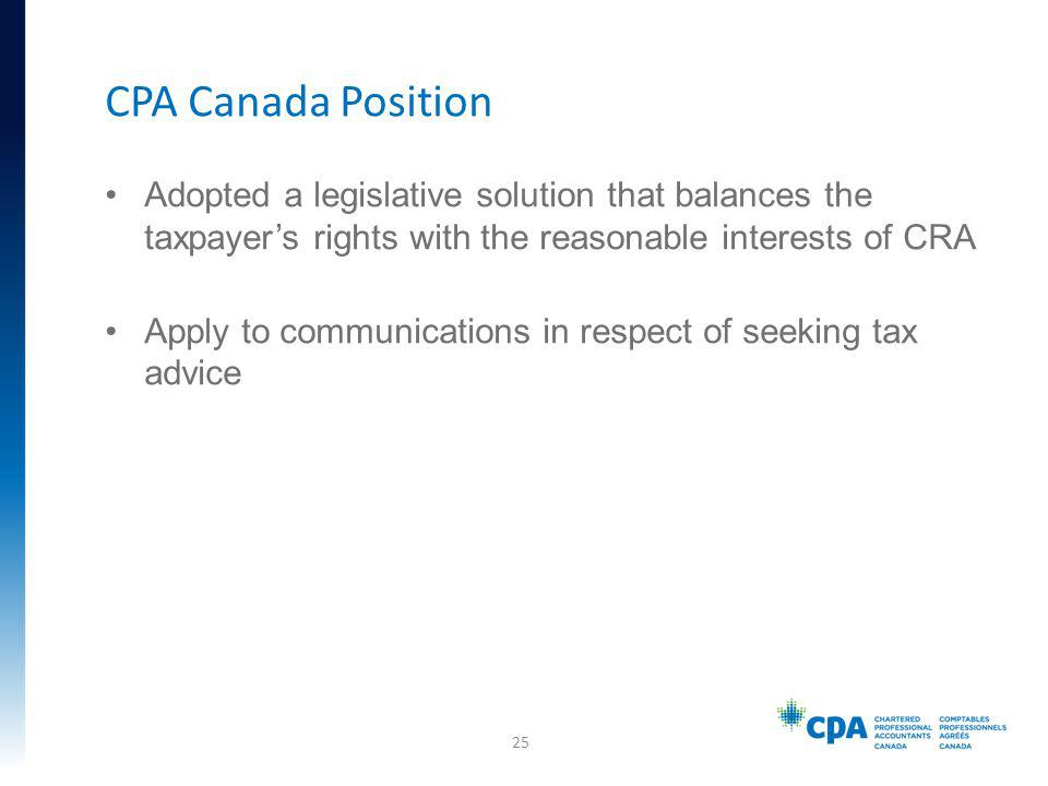 Adopted a legislative solution that balances the taxpayers rights with the reasonable interests of CRA Apply to communications in respect of seeking t
