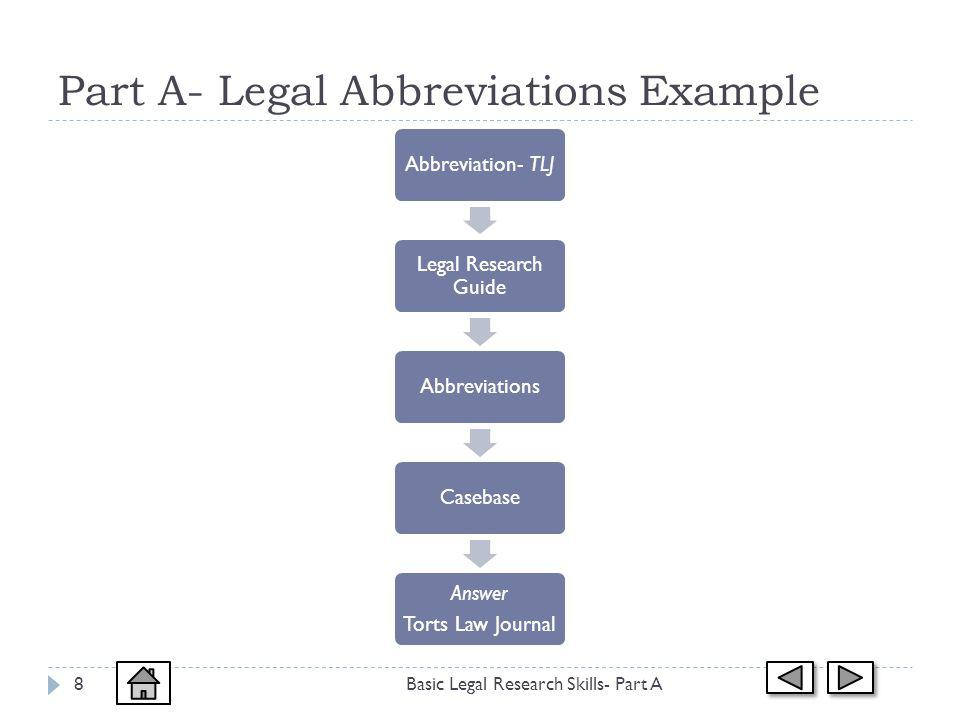 Part A- Legal Abbreviations Example Basic Legal Research Skills- Part A8 Abbreviation- TLJ Legal Research Guide AbbreviationsCasebase Answer Torts Law Journal