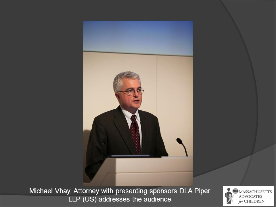 Michael Vhay, Attorney with presenting sponsors DLA Piper LLP (US) addresses the audience