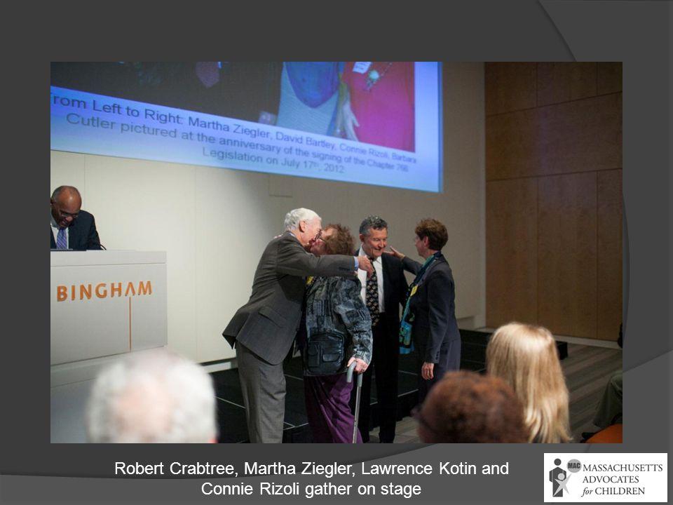 Robert Crabtree, Martha Ziegler, Lawrence Kotin and Connie Rizoli gather on stage