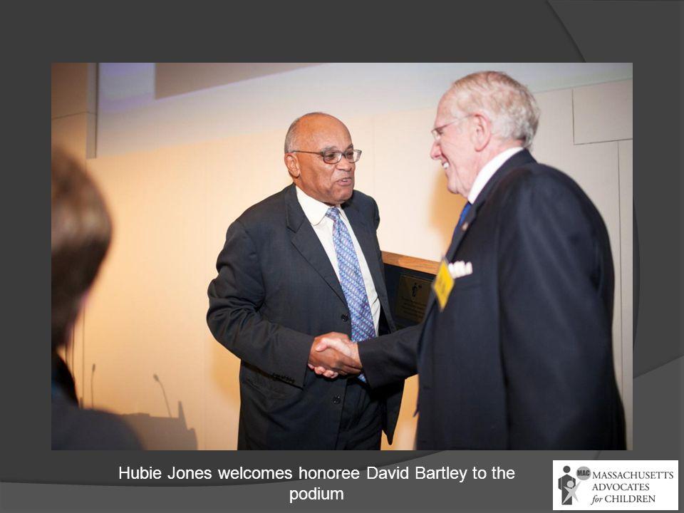 Hubie Jones welcomes honoree David Bartley to the podium