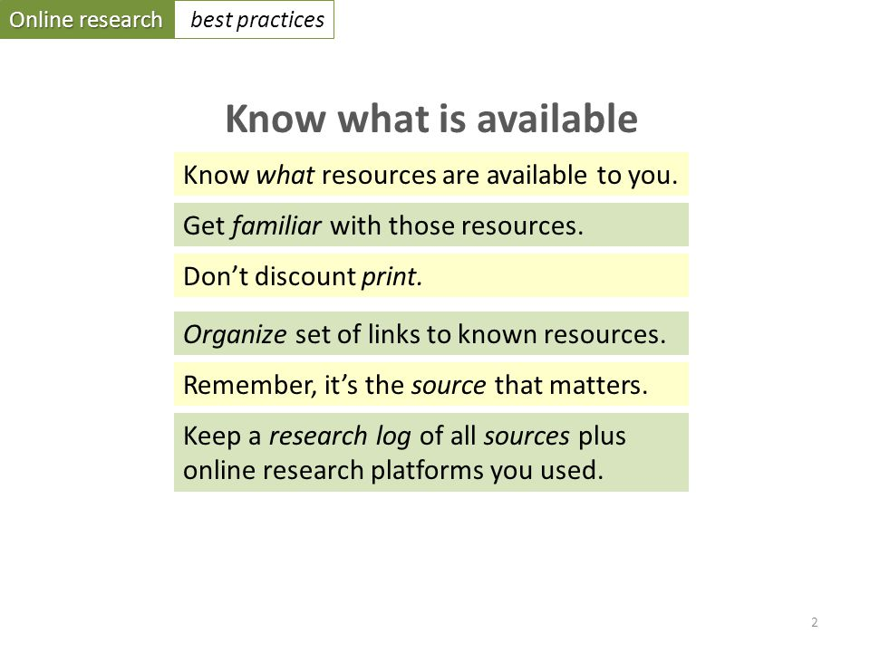 Online research best practices Know what is available Know what resources are available to you.