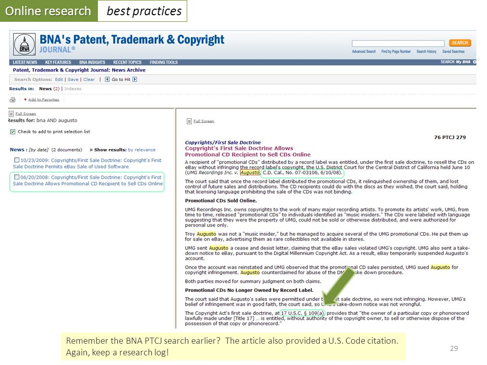 Online research best practices 29 Remember the BNA PTCJ search earlier.
