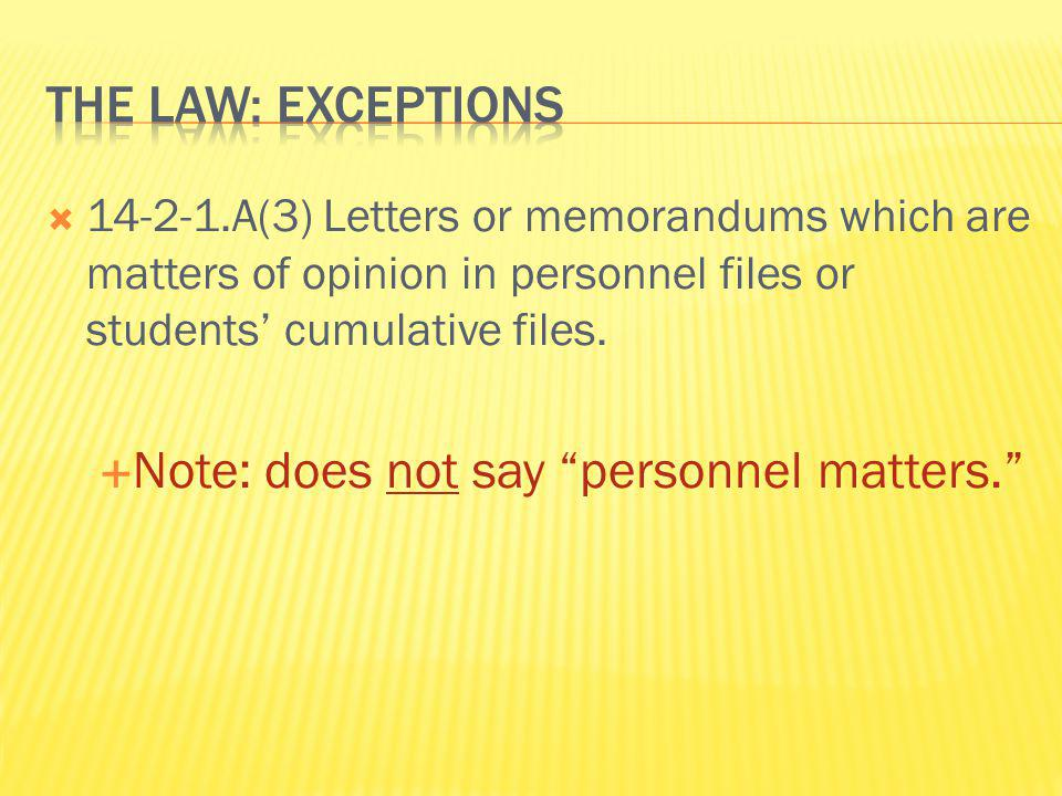 Note: does not say personnel matters.