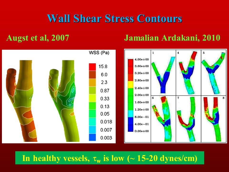 Wall Shear Stress Contours Augst et al, 2007Jamalian Ardakani, 2010 In healthy vessels, w is low (~ 15-20 dynes/cm)