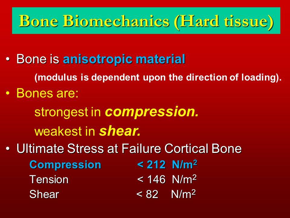 Bone Biomechanics (Hard tissue) Bone is anisotropic materialBone is anisotropic material (modulus is dependent upon the direction of loading). Bones a
