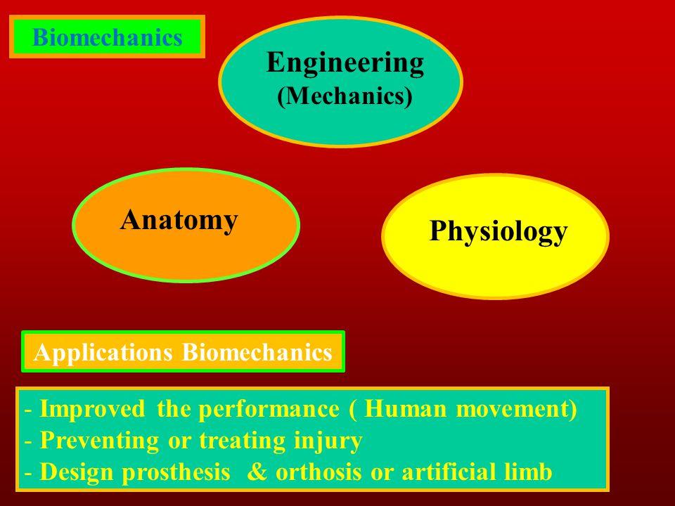 Engineering (Mechanics) Anatomy Physiology Biomechanics Applications Biomechanics - Improved the performance ( Human movement) - Preventing or treatin