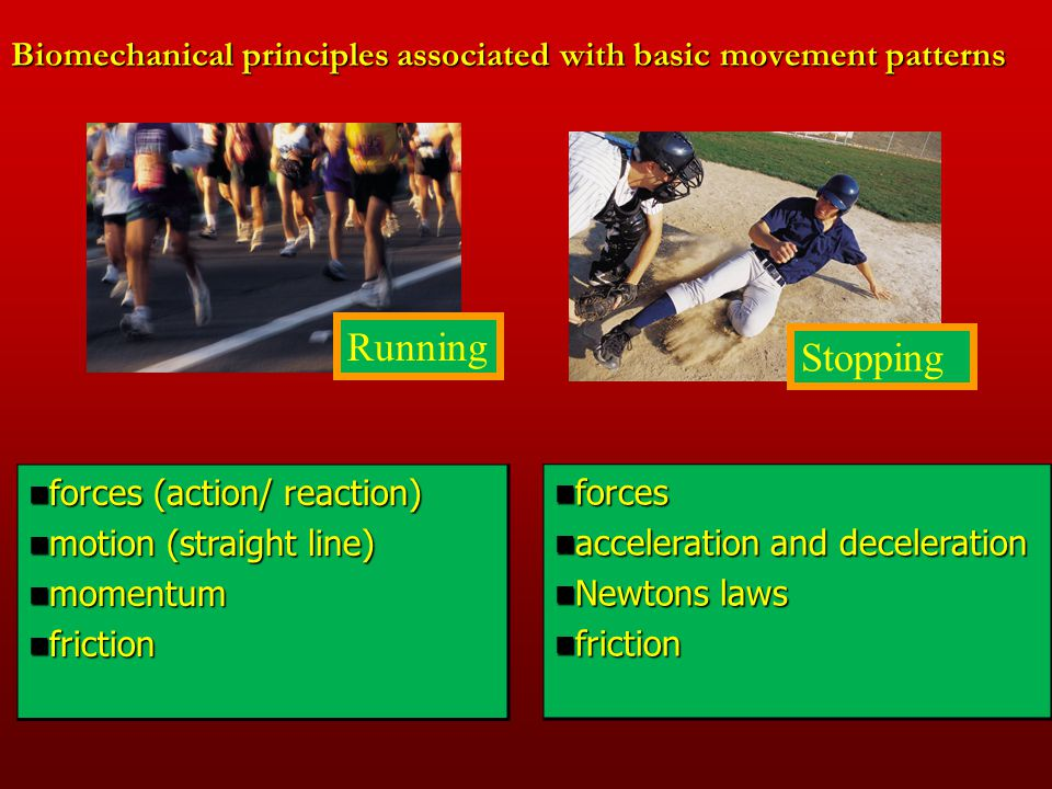 Biomechanical principles associated with basic movement patterns forces forces acceleration and deceleration acceleration and deceleration Newtons law