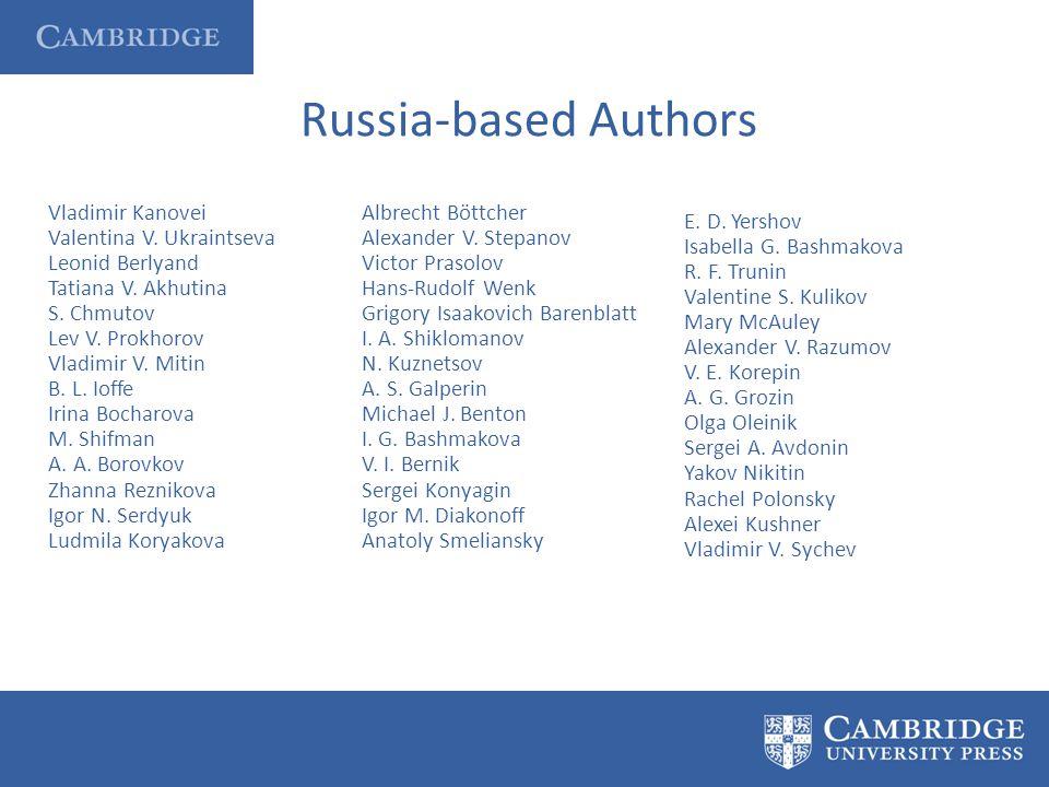 Russia-based Authors Vladimir Kanovei Valentina V.