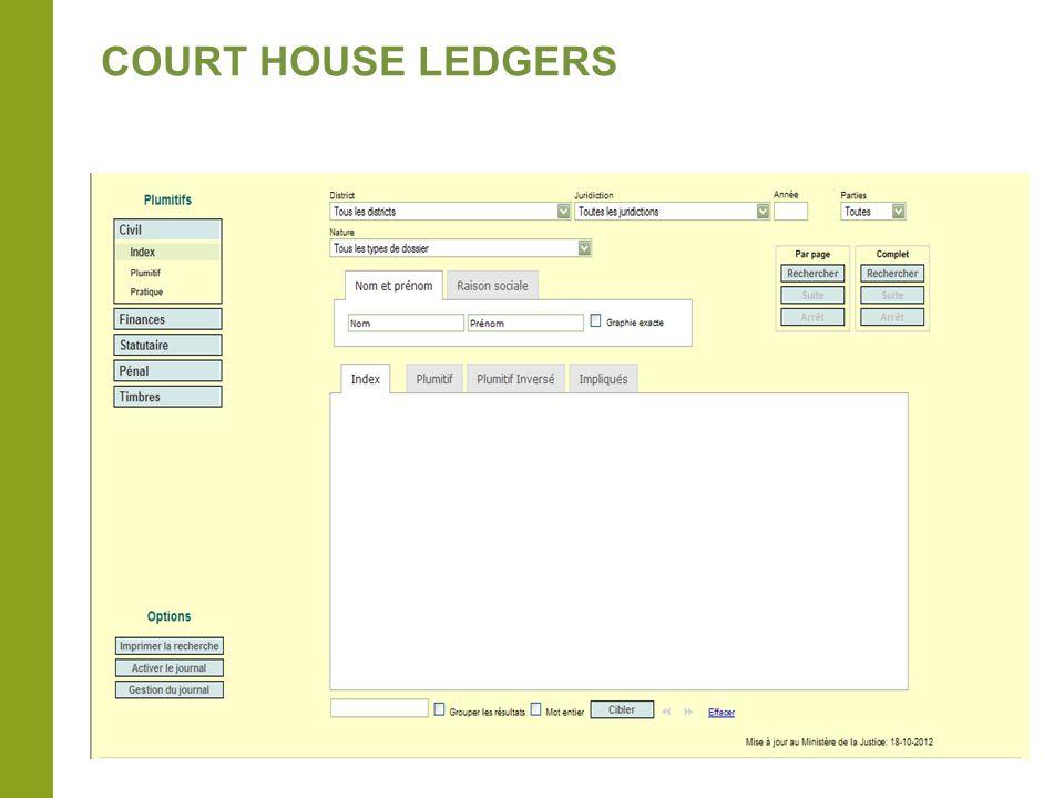 COURT HOUSE LEDGERS