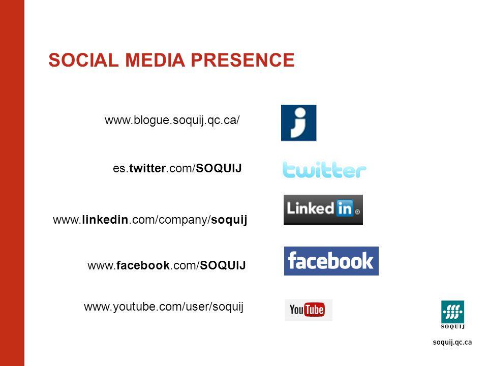 SOCIAL MEDIA PRESENCE www.blogue.soquij.qc.ca/ www.youtube.com/user/soquij www.facebook.com/SOQUIJ www.linkedin.com/company/soquij es.twitter.com/SOQUIJ