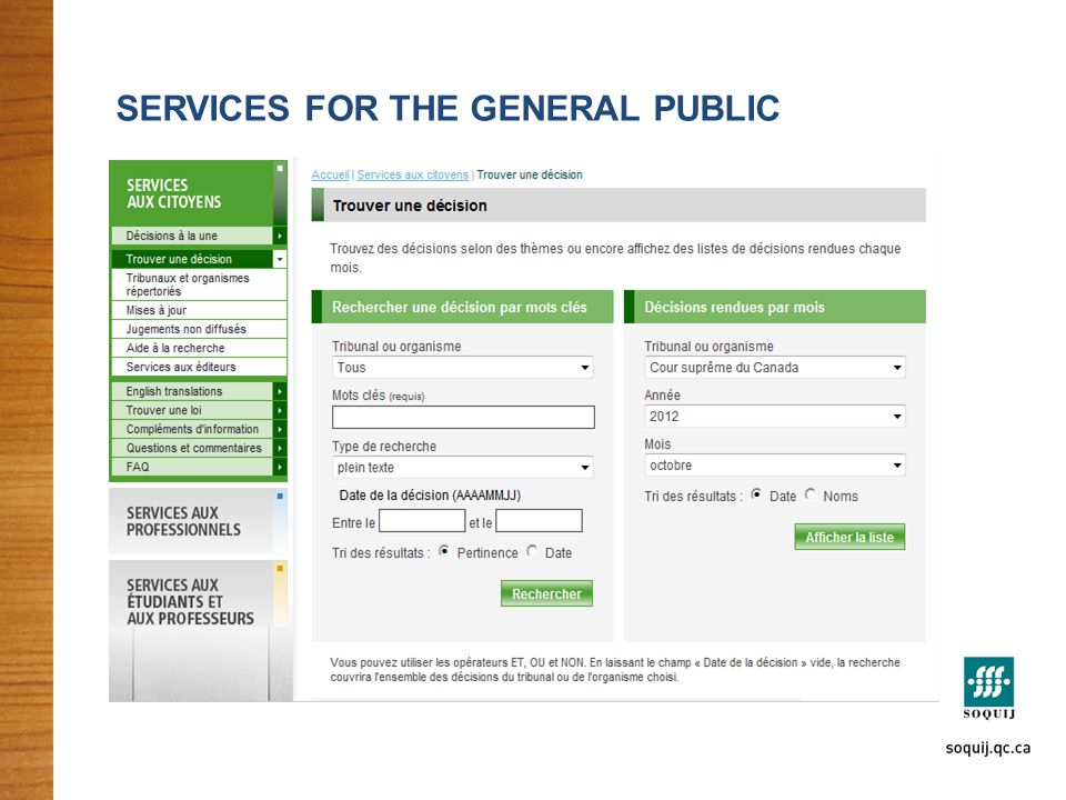 SERVICES FOR THE GENERAL PUBLIC