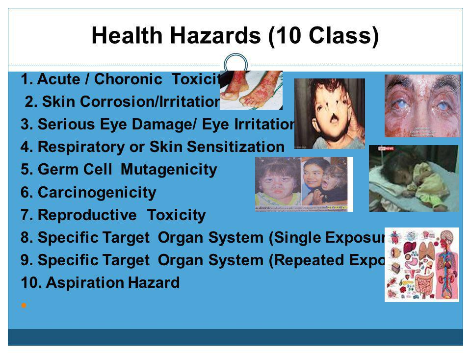 Physical Hazards (16 Class) Explosive Chemicals Flammable Solid/Liquid/Gas Flammable Aerosol Pyrophoric Liquids/Solids Self Heating Chemicals Self-rea