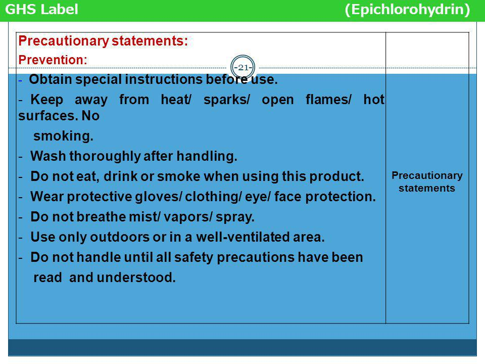 -20- Epichlorohydrin C CAS No. 106-89-8 UN No. Product Identifier Pictogram DANGERSignal word Hazard statements: - Flammable liquid & vapour. - Toxic
