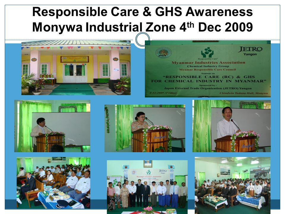 Responsible Care & GHS Awareness Defence Services Technological Academy (PyinOo Lwin) 24 th May 2009