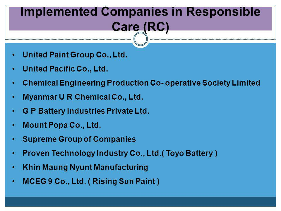 Myanmar Industries Association (MIA) Chemical Industry Group (CIG) Myanmar Responsible Care Council (MRCC) Responsible Care Activities in Myanmar Resp