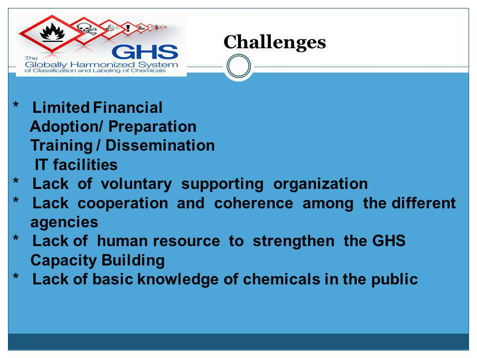 Chemical Safety Law Government Sector National Chemical Profile & GHS CIG RC Current Situation of GHS legislation Private Sector (NGO) Working Committ