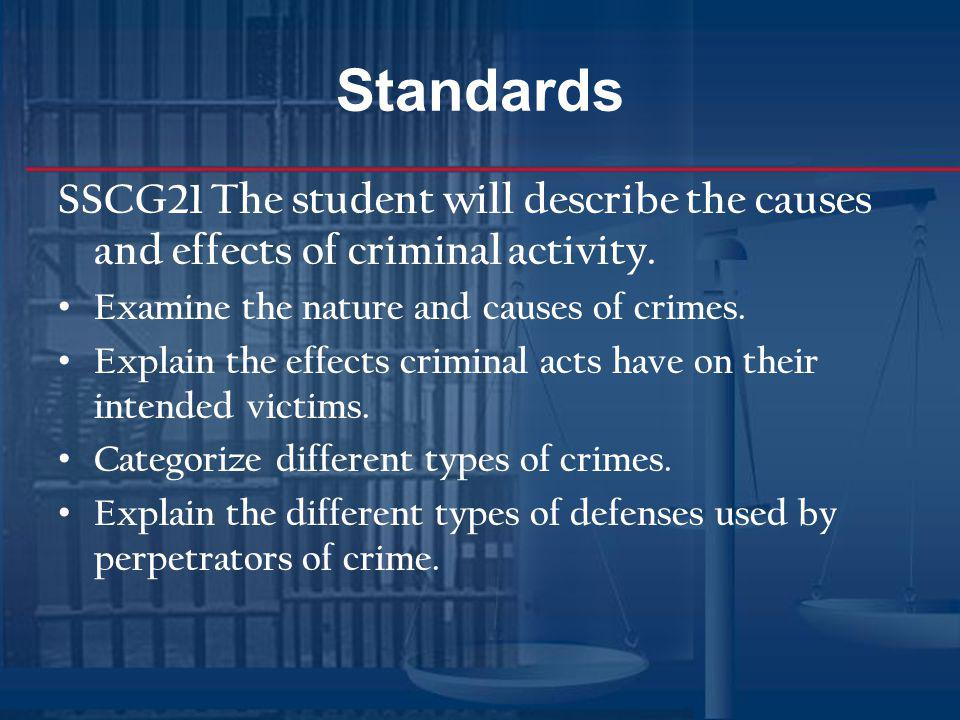 Standards SSCG21 The student will describe the causes and effects of criminal activity. Examine the nature and causes of crimes. Explain the effects c